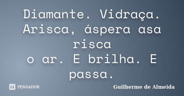 Diamante. Vidraça. Arisca, áspera asa risca o ar. E brilha. E passa.... Frase de Guilherme de Almeida.