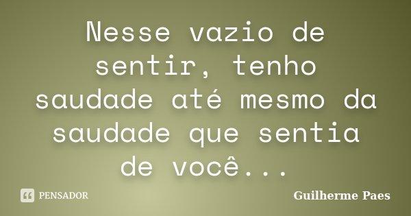 Nesse vazio de sentir, tenho saudade até mesmo da saudade que sentia de você...... Frase de Guilherme Paes.