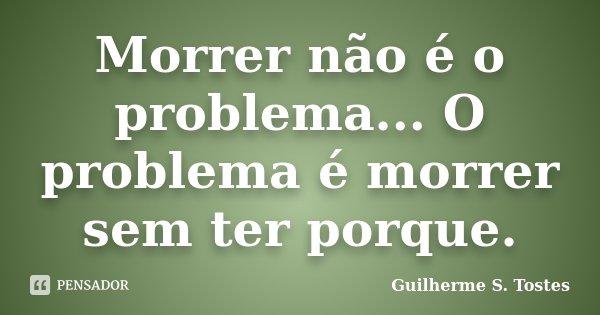 Morrer não é o problema... O problema é morrer sem ter porque.... Frase de Guilherme S. Tostes.