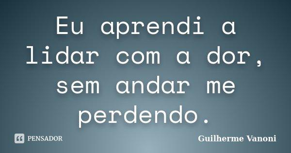 Eu aprendi a lidar com a dor, sem andar me perdendo.... Frase de Guilherme Vanoni.