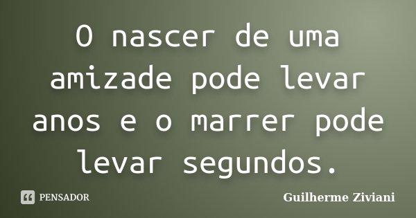 O nascer de uma amizade pode levar anos e o marrer pode levar segundos.... Frase de Guilherme Ziviani.