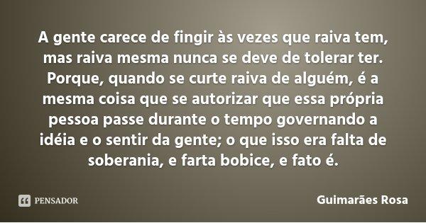 A gente carece de fingir às vezes que raiva tem, mas raiva mesma nunca se deve de tolerar ter. Porque, quando se curte raiva de alguém, é a mesma coisa que se a... Frase de Guimarães Rosa.