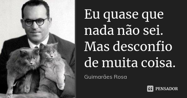 Eu quase que nada não sei. Mas desconfio de muita coisa.... Frase de Guimarães Rosa.