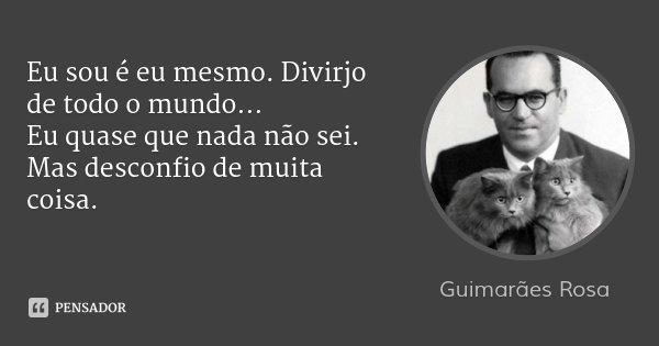 Eu sou é eu mesmo. Divirjo de todo o mundo… Eu quase que nada não sei. Mas desconfio de muita coisa.... Frase de Guimarães Rosa.