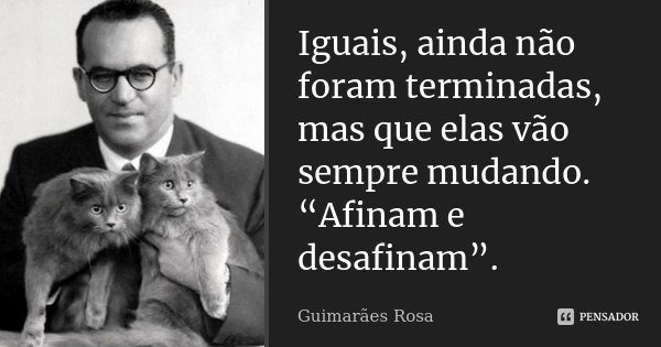 """Iguais, ainda não foram terminadas, mas que elas vão sempre mudando. """"Afinam e desafinam"""".... Frase de Guimarães Rosa."""