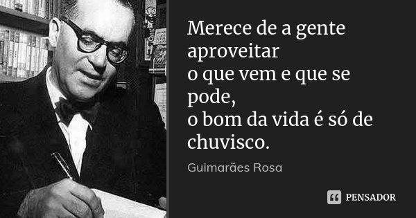 Merece de a gente aproveitar o que vem e que se pode, o bom da vida é só de chuvisco.... Frase de Guimarães Rosa.