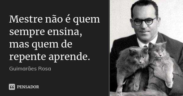 Mestre não é quem sempre ensina, mas quem de repente aprende.... Frase de Guimarães Rosa.