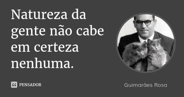 Natureza da gente não cabe em certeza nenhuma.... Frase de Guimarães Rosa.