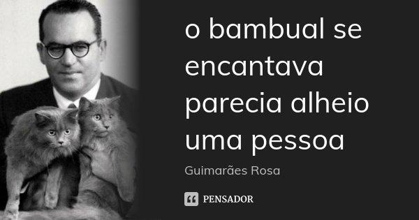 o bambual se encantava parecia alheio uma pessoa... Frase de Guimarães Rosa.