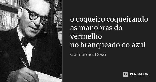 o coqueiro coqueirando as manobras do vermelho no branqueado do azul... Frase de Guimarães Rosa.