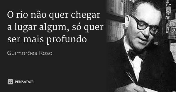 O rio não quer chegar a lugar algum, só quer ser mais profundo... Frase de Guimarães Rosa.