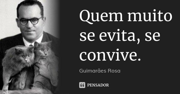 Quem muito se evita, se convive.... Frase de Guimarães Rosa.
