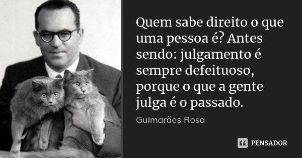 Quem sabe direito o que uma pessoa é? Antes sendo: julgamento é sempre defeituoso, porque o que a gente julga é o passado.... Frase de Guimarães Rosa.