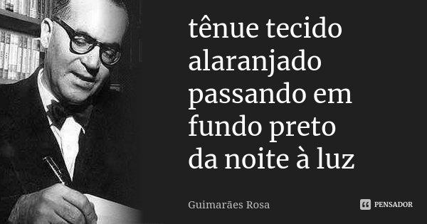 tênue tecido alaranjado passando em fundo preto da noite à luz... Frase de Guimarães Rosa.