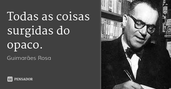 Todas as coisas surgidas do opaco.... Frase de Guimarães Rosa.