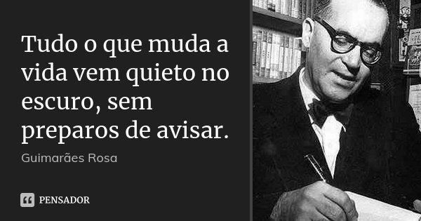 Tudo o que muda a vida vem quieto no escuro, sem preparos de avisar.... Frase de Guimarães Rosa.