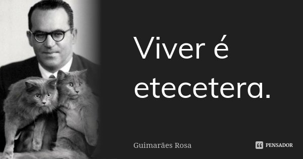 Viver é etecetera.... Frase de Guimarães Rosa.