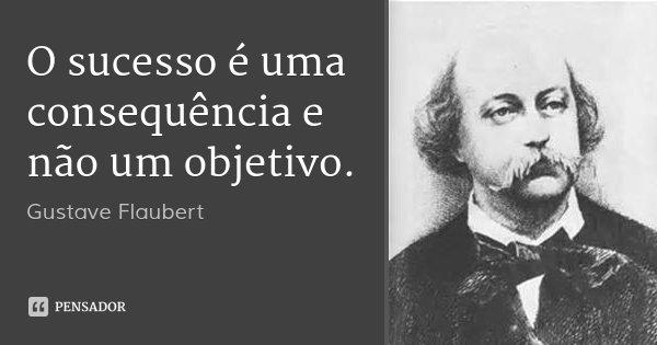 O sucesso é uma consequência e não um objetivo.... Frase de Gustave Flaubert.