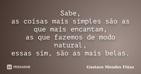 Sabe, as coisas mais simples são as que mais encantam, as que fazemos de modo natural, essas sim, são as mais belas.... Frase de Gustavo Mendes Fiúza.