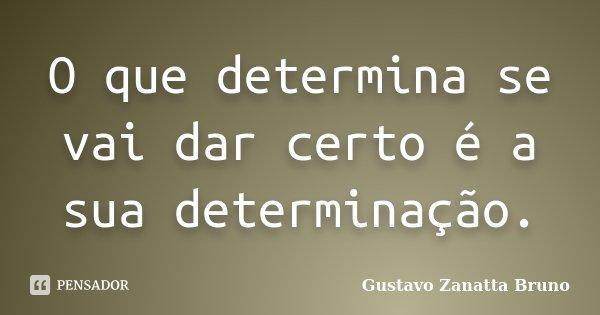 O que determina se vai dar certo é a sua determinação.... Frase de Gustavo Zanatta Bruno.