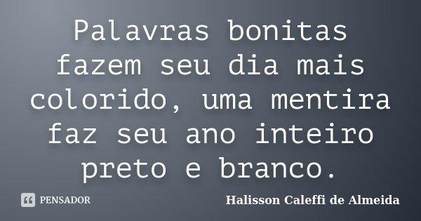 Palavras bonitas fazem seu dia mais colorido, uma mentira faz seu ano inteiro preto e branco.... Frase de Halisson Caleffi de Almeida.