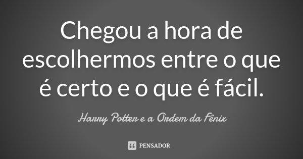 Chegou a hora de escolhermos entre o que é certo e o que é fácil.... Frase de Harry Potter e a Ordem da Fênix.