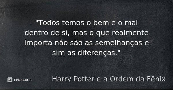 """""""Todos temos o bem e o mal dentro de si, mas o que realmente importa não são as semelhanças e sim as diferenças.""""... Frase de (Harry Potter e a Ordem da Fênix)."""