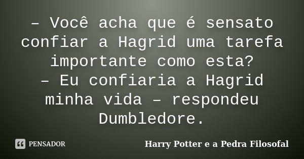 - Você acha que é sensato confiar a Hagrid uma tarefa importante como esta? - Eu confiaria a Hagrid minha vida - respondeu Dumbledore.... Frase de Harry Potter e a Pedra Filosofal.