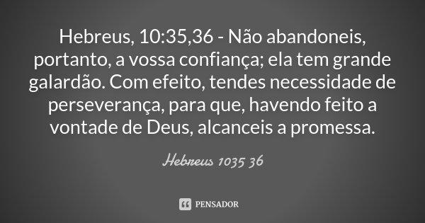 Hebreus, 10:35,36 - Não abandoneis, portanto, a vossa confiança; ela tem grande galardão. Com efeito, tendes necessidade de perseverança, para que, havendo feit... Frase de Hebreus 1035 36.
