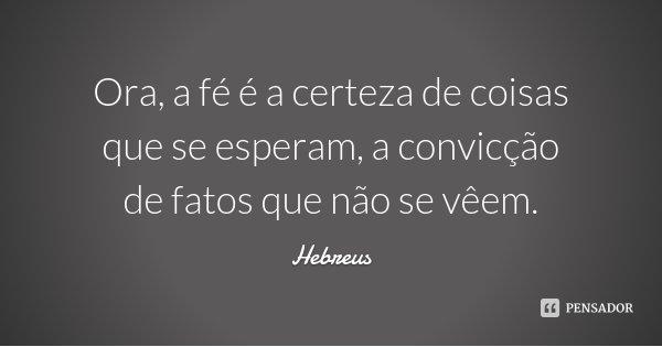 Ora, a fé é a certeza de coisas que se esperam, a convicção de fatos que não se vêem.... Frase de Hebreus.