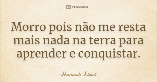 Morro pois não me resta mais nada na terra para aprender e conquistar.... Frase de Heinrich Kleist.