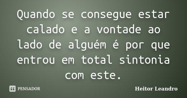Quando se consegue estar calado e a vontade ao lado de alguém é por que entrou em total sintonia com este.... Frase de Heitor Leandro.
