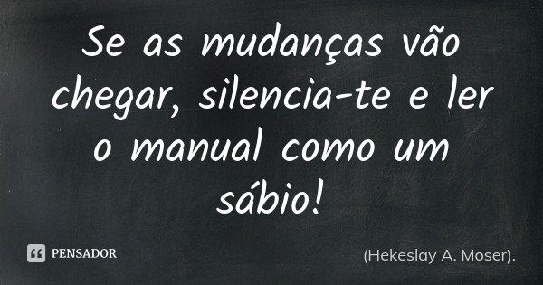 Se as mudanças vão chegar, silencia-te e ler o manual como um sábio!... Frase de (Hekeslay A. Moser)..