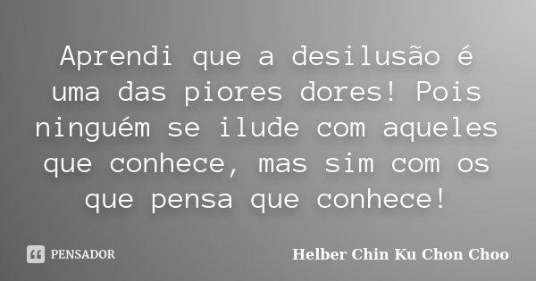Aprendi..., que a desilusão é uma das piores dores!... Pois ninguém se ilude com aqueles que conhece, mas sim com os que pensa que conhece!...... Frase de Helber Chin Ku Chon Choo.
