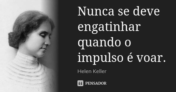 Nunca se deve engatinhar quando o impulso é voar.... Frase de Helen Keller.