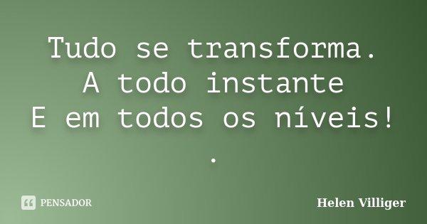 Tudo se transforma. A todo instante E em todos os níveis! .... Frase de Helen Villiger.