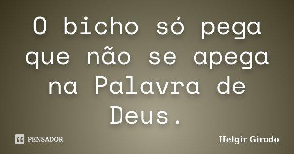 O bicho só pega que não se apega na Palavra de Deus.... Frase de Helgir Girodo.