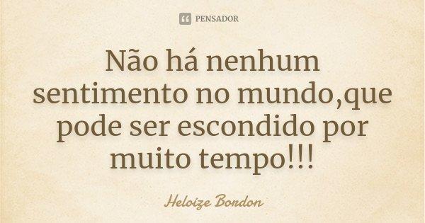Não há nenhum sentimento no mundo,que pode ser escondido por muito tempo!!!... Frase de Heloize Bordon.