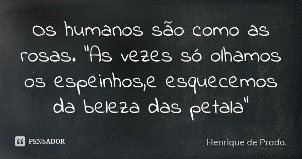 """Os humanos são como as rosas. """"As vezes só olhamos os espeinhos,e esquecemos da beleza das petala""""... Frase de Henrique de Prado.."""