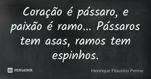 Coração é pássaro, e paixão é ramo... Pássaros tem asas, ramos tem espinhos.... Frase de Henrique Flausino Perine.