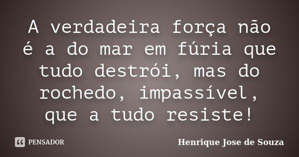 A verdadeira força não é a do mar em fúria que tudo destrói, mas do rochedo, impassível, que a tudo resiste!... Frase de Henrique José de Souza.