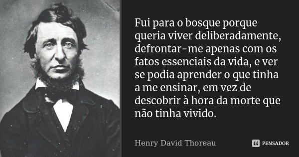 Fui para o bosque porque queria viver deliberadamente, defrontar-me apenas com os fatos essenciais da vida, e ver se podia aprender o que tinha a me ensinar, em... Frase de Henry David Thoreau.