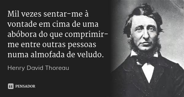 Mil vezes sentar-me à vontade em cima de uma abóbora do que comprimir-me entre outras pessoas numa almofada de veludo.... Frase de Henry David Thoreau.
