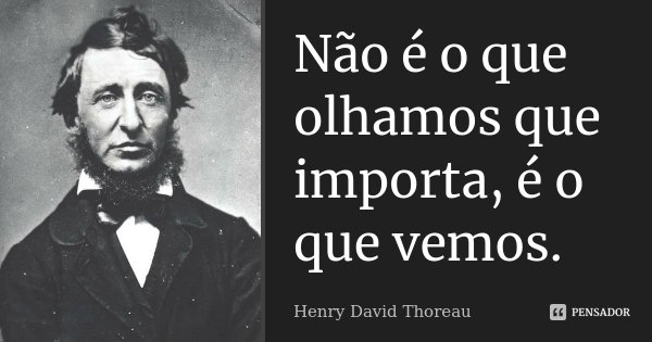 Não é o que olhamos que importa, é o que vemos.... Frase de Henry David Thoreau.