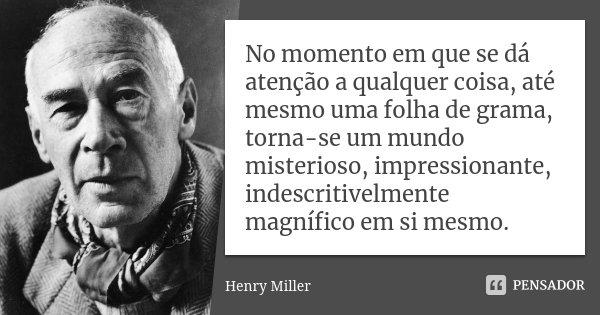 No momento em que se dá atenção a qualquer coisa, até mesmo uma folha de grama, torna-se um mundo misterioso, impressionante, indescritivelmente magnífico em si... Frase de Henry Miller.
