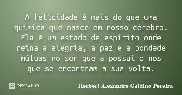 """""""A felicidade é mais do que uma química que nasce em nosso cérebro. Ela é um estado de espírito onde reina a alegria, a paz e a bondade mútuas no ser que a poss... Frase de Herbert Alexandre Galdino Pereira."""
