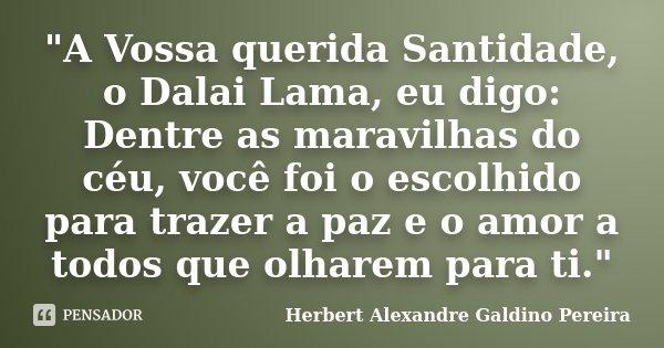 """""""A Vossa querida Santidade, o Dalai Lama, eu digo: Dentre as maravilhas do céu, você foi o escolhido para trazer a paz e o amor a todos que olharem para ti... Frase de Herbert Alexandre Galdino Pereira."""