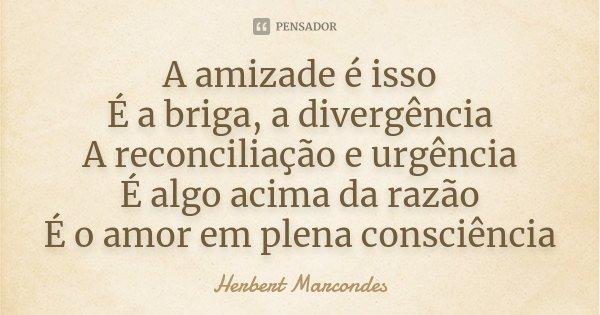 A amizade é isso É a briga, a divergência A reconciliação e urgência É algo acima da razão É o amor em plena consciência... Frase de Herbert Marcondes.