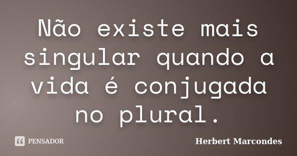 Não existe mais singular quando a vida é conjugada no plural.... Frase de Herbert Marcondes.