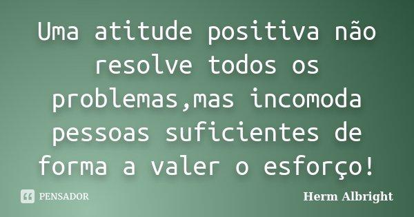 Uma atitude positiva não resolve todos os problemas,mas incomoda pessoas suficientes de forma a valer o esforço!... Frase de Herm Albright.